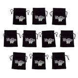 "10 Medium 3"" x 4"" Black Velour Pouches with Drawstrings by Wiz Dice Embroidered - Chickadee Solutions - 1"