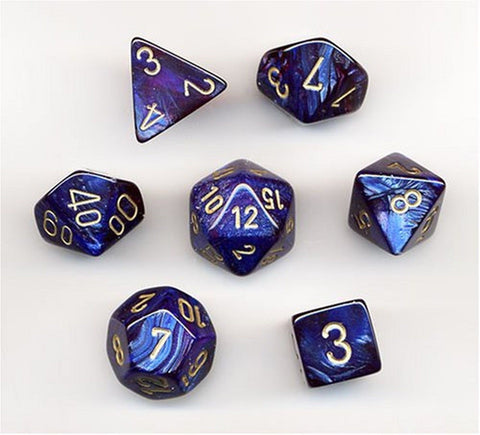 Polyhedral 7-Die Scarab Chessex Dice Set - Royal Blue with Gold CHX 27427 - Chickadee Solutions