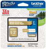 Brother Laminated Tape 12mm (0.47 Inch) White on Satin Gold (TZeMQ835) - Reta... - Chickadee Solutions