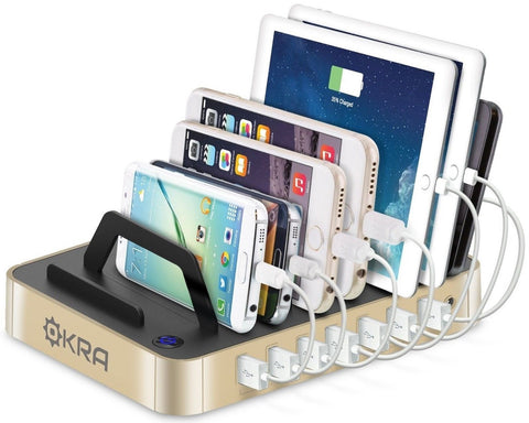Okra 7-Port Hub USB Desktop Universal Charging Station Multi Device Dock for ... - Chickadee Solutions - 1