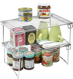 2 Pack - DecoBros Stackable Kitchen Cabinet Organizer Chrome - Chickadee Solutions - 1