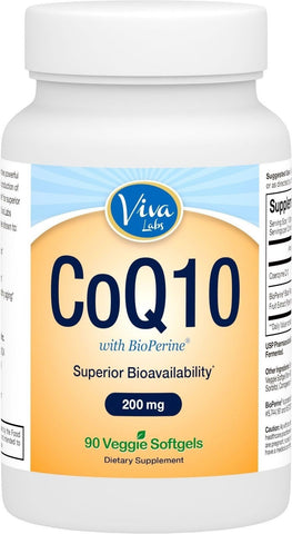 Viva Labs CoQ10 200mg 90 Vegetarian Softgels - Enhanced with BioPerine for In... - Chickadee Solutions - 1