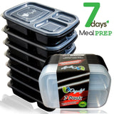 ORGALIF 7-Piece Food Portion Control Reusable BPA-Free 3 Compartment Bento Lu... - Chickadee Solutions - 1