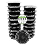 Freshware 20-Pack 7-Inch Round Bento Lunch Boxes with Lids - Stackable Reusab... - Chickadee Solutions - 1