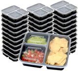 30 Value Pack - SimpleHouseware 3 Compartment Reusable Meal Prep Food Storage... - Chickadee Solutions - 1