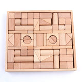 Wooden Blocks - iPlay iLearn wood block set Natural Wooden Stacking Cubes Blo... - Chickadee Solutions - 1