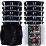 3-Compartment Premium Meal Prep Containers (48 Oz) (Set of 10) 3-Compartment - Chickadee Solutions - 1