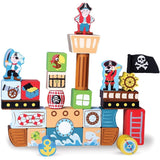 Blockbeard's Pirate Ship Wooden Building Blocks Playset (29 pcs.) by Imaginat... - Chickadee Solutions - 1