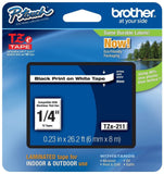 "Brother P-touch ~1/4"" (0.23"") Black on White Standard Laminated Tape - 26.2 f... - Chickadee Solutions - 1"