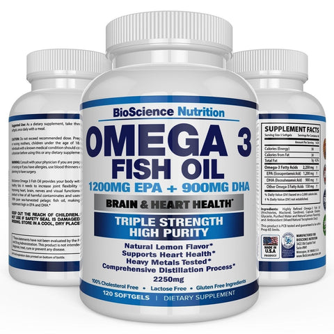 #1 Omega 3 Fish Oil 2250mg | HIGHEST EPA 1200MG + DHA 900MG Triple Strength C... - Chickadee Solutions - 1
