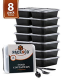 8 Pack 3 compartment Meal prep containers with lids Including 8 FREE Sets Cut... - Chickadee Solutions - 1