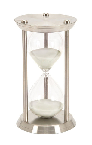Deco 79 Metal/Glass 60 Minute Hourglass 12 by 7-Inch - Chickadee Solutions