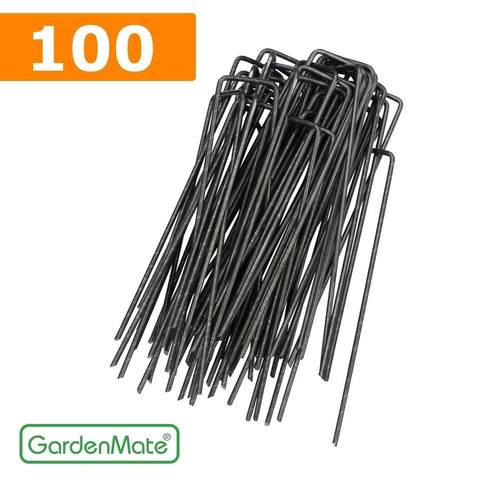 GardenMate 100-Pack 6'' 11 Gauge HEAVY-DUTY U-Shaped Garden Securing Pegs - S... - Chickadee Solutions - 1