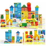 City Wooden Building Blocks Stacking Set Toys For Kids - Chickadee Solutions - 1