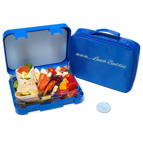 bento lunch box blue by mmm lunch buddies double leak proof container new. Black Bedroom Furniture Sets. Home Design Ideas