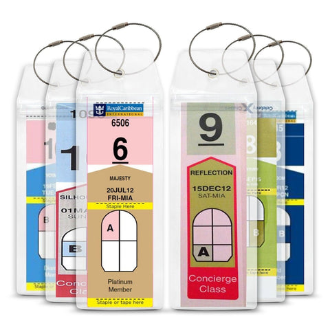 Cruise Tag Caddy 8 Pc Slim Zip Luggage Tag Holders Royal Caribbean & Celebrit... - Chickadee Solutions - 1