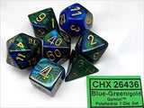 Chessex Manufacturing 26436 Cube Gemini Set Of 7 Dice - Blue & Green With Gol... - Chickadee Solutions