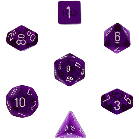 Polyhedral 7-Die Translucent Chessex Dice Set - Purple - Chickadee Solutions