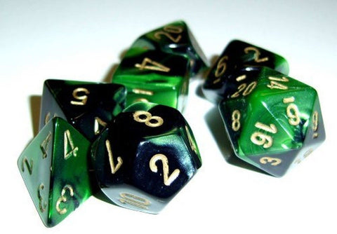 Polyhedral 7-Die Gemini Chessex Dice Set - Black-Green w/ Gold CHX-26439 - Chickadee Solutions