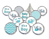 Teal Blue and Gray Elephant Boy Baby Shower Stickers (Set of 324) - Chickadee Solutions - 1