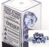 Chessex Nebula Black 7 piece dice set CHX-27408 1-Pack - Chickadee Solutions