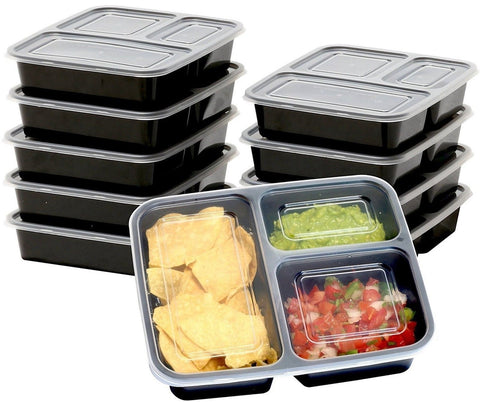SimpleHouseware 10 Pack 3 Compartment Reusable Meal Prep Food Storage Contain... - Chickadee Solutions - 1