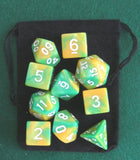 Dinosaur (Green / Yellow) RPG D&D Dice Set: 7 + 3d6 = 10 polyhedral die plus ... - Chickadee Solutions - 1