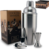 Professional Cocktail Shaker Set w/ a Double Jigger & 2 Liquor Pourers by BAR... - Chickadee Solutions - 1