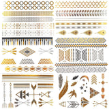 COKOHAPPY Metallic Temporary Tattoo 6 Different Sheets Bling Love Feather Ha... - Chickadee Solutions - 1