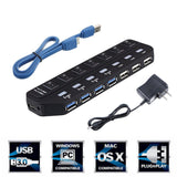 ONCHOICE USB Hub 7 Ports 4xUSB3.0 + 3xUSB2.0 with On/Off Switch High Super Sp... - Chickadee Solutions - 1
