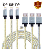 LOVRI 3Pack 10ft Apple Lightning Nylon Braided Charging Cord 8 Pin USB cords ... - Chickadee Solutions - 1