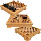 Deluxe 7-in-1 Game Set - Chess Checkers Backgammon and More Brown - Chickadee Solutions - 1