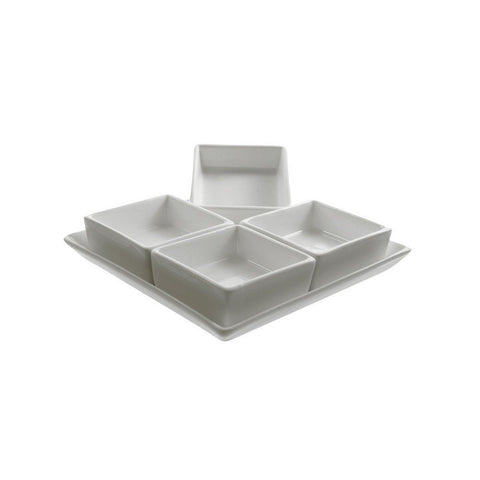 10 Strawberry Street Whittier 16- Sq Inch 4-Pocket Tray White Set of 2 - Chickadee Solutions