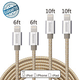 Aonsen 4Pack 6FT 10FT Nylon Braided Lightning Charging Cable Sync Cord for iP... - Chickadee Solutions - 1
