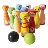 Lewo Wooden Bowling Ball Games Toys Kids Creative Birthday Present - Chickadee Solutions - 1