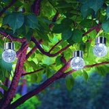 3PACK Crackle Glass Globe Solar Lights With Hanger Sogrand Solar Pathway Ligh... - Chickadee Solutions - 1