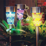 Sogrand 3Pack Mosaic Decoration Stake Light Solar Light With 3 Color Mosaic L... - Chickadee Solutions - 1