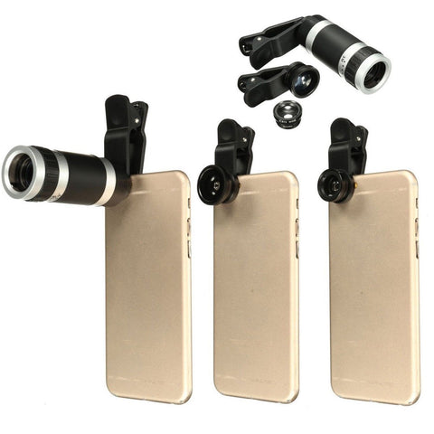M.Way Universal 4 in 1 Clip-on Cell Phone Lens kit Fisheye + Wide Angle + 8X ... - Chickadee Solutions - 1