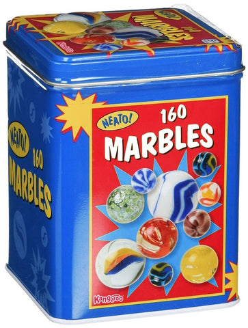 Kangaroo Marble Set - 160; Marbles Game in a Tin Box - Chickadee Solutions - 1