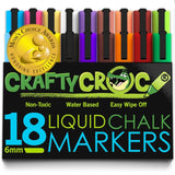 Crafty Croc Liquid Chalk Markers Jumbo 18 Pack (Mom's Choice Award Gold Recip... - Chickadee Solutions - 1