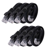 Cat6 Ethernet Cable Flat 1.5ft - 6 PACK Black (At a Cat5e Price but Higher Ba... - Chickadee Solutions - 1