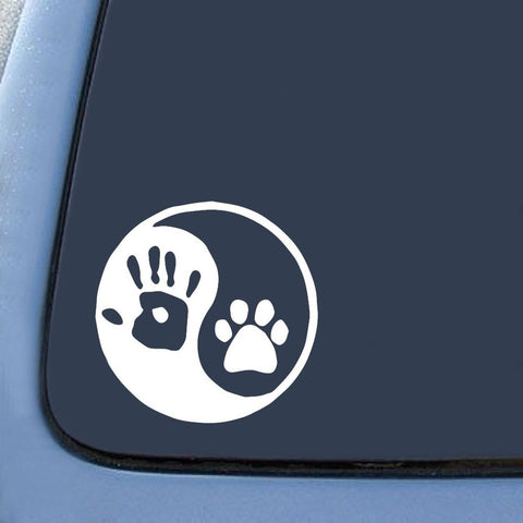"Yin Yang Human Hand Dog Paw Sticker Decal Notebook Car Laptop 6"" (White) - Chickadee Solutions"