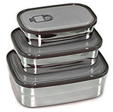 "Stainless Steel ""Tupperware"" Food Storage Containers (Set of 3) Metal Lunch B... - Chickadee Solutions - 1"