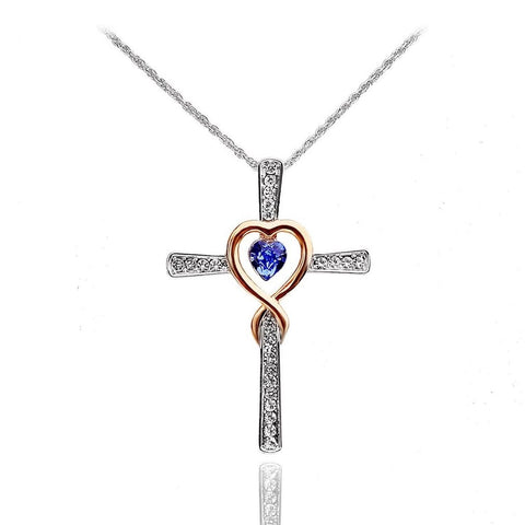 Xingzou Infinity Love of God Women Heart Crystals Cross Pendant Necklace Made... - Chickadee Solutions - 1