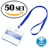 150 50 PCS Waterproof Clear Nametags Badge ID Card Holder & 50 PCS Name Tags... - Chickadee Solutions - 1