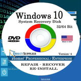 Windows 10 - 32/64 Bit DVD SP1 Supports All Versions. Home Professional and E... - Chickadee Solutions - 1