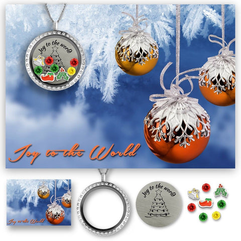 Holiday Christmas Gifts! Floating Charms Memory Locket Pendant Necklace- Crys... - Chickadee Solutions - 1