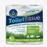 Septic Tank Safe Toilet Tissue (2-Ply 4 Rolls) For RV Camping & Marine Biodeg... - Chickadee Solutions - 1