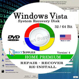 WINDOWS VISTA - 32 Bit & 64 Bit DVD SP1 Supports HOME PREMIUM edition. Recove... - Chickadee Solutions - 1