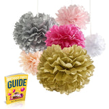 Best Tissue Paper Flowers 18 Pom Poms Set Super-Fun Pink And Gold Party Suppl... - Chickadee Solutions - 1
